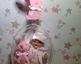 Dolls house ooak baby girl in an acrylic heart with bunny <3  1/12 scale
