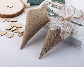 10 Handmade Burlap Cone Rice Tossers Chair Decor Hanging Basket Pew Lace / Wooden Hearts Confetti