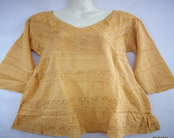 Lovely Casual Embroided Embellished Loose Tops Blouse Shirt Maternity Yellow,One size fit for S M L
