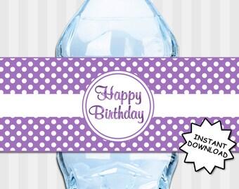 Water Bottle Labels Purple Polka Dots, Purple Birthday Decorations, Purple Water Bottle Label, INSTANT DOWNLOAD, Printable Birthday