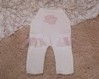 CLEARANCE, RTS, Sitter romper, Baby girl romper, White, Pink, Romper, Vintage, Baby girl photo prop