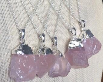 "Sterling Silver Natural Rough Rose Quartz Pendant Necklace - Sterling Silver 18"" Chain - Natural Stone Necklace - Pink stone Necklace"