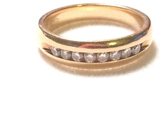 14k gold ring wedding ring with 8 diamond