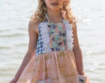 At the Seashore dress, girls boutique dress, girls summer dress, girls nautical dress, girls ruffle dress, boutique dress