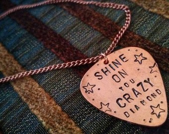 Pink Floyd - Shine On You Crazy Diamond guitar pick necklace