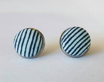 Blue stripy fabric stud earrings