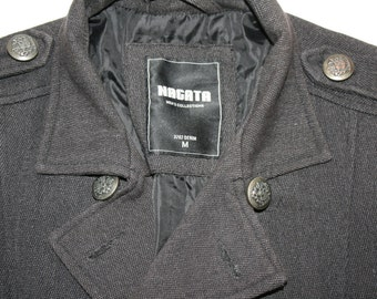 Mens Military Coat Black Steampunk Jacket Metal Buttons Double Breasted  Trench Coat Black Gray Jacket  Outerwear Size Medium