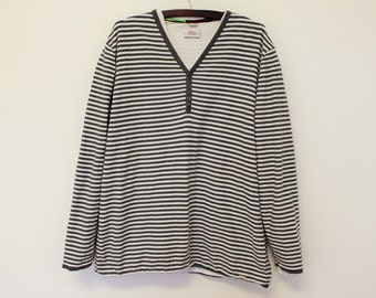 Mens Stripe T Shirt Brand S.OLIVER 100% Cotton Mens Pullover Stripe Pullover Blue & White 3XL Size