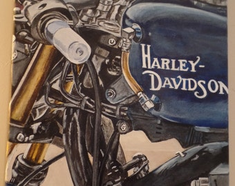 """Original """"Harley Blue"""" Unframed Acrylic Painting on a Stretched Gallery Canvas. #16-059"""