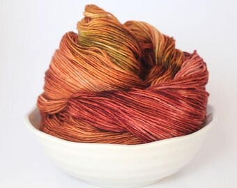 MCN Sock Yarn - Hand Dyed - Merino Cashmere - Brass Razzoo