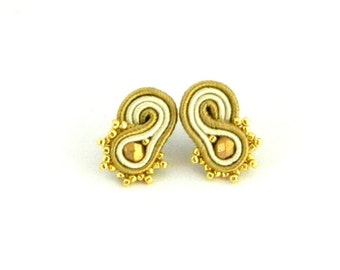 Golden earrings, ivory earrings, stud earrings, embroidered earrings, small earrings, beaded earrings, soutache earrings, bohemian earrings