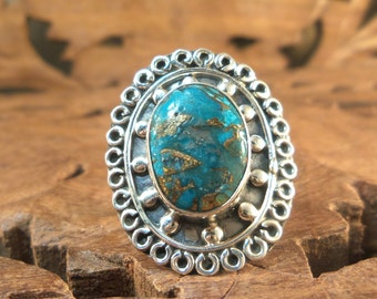 Sterling Ring Copper Blue Arizona Turquoise & Textured Sterling Silver Ring, size 6.5