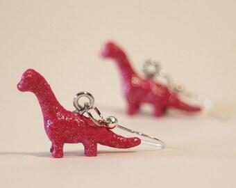 FREE SHIPPING Mini Glitter Pink Repurposed Toy Brachiosaurus Dinosaur Earrings