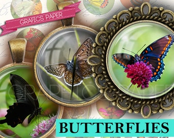 """Digital Collage Sheet Butterflies Sheet Printable 1 inch Round, 25mm Circles, 1.5"""", 1.25"""", 30mm, 1 inch - Download- Images for Pendants td57"""