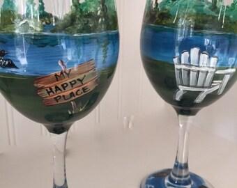 My Happy Place Wine Glass. Up North Cabin Scene.  Cabin gift.
