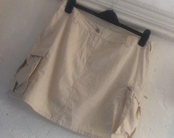 "Vintage cargo mini skirt by Western Trading Size 12 14 waist 34"" length 17"""