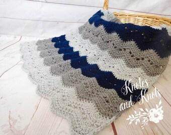 Baby boy blanket - Crochet baby blanket  - gray and navy blue baby blanket - knit baby afghan - nursery decor - baby boy bedding