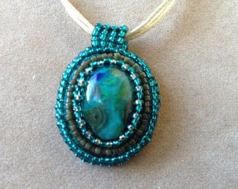Bead embroidery pendant necklace teal blue(item #340)