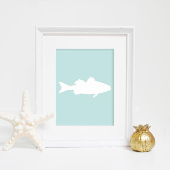 Sea Bass, Mint Fish Print, Sea Bass Wall Art, Printable Art, Fish Art, Digital Prints, Beach Nursery Art, Beach Decor, Nautical Print
