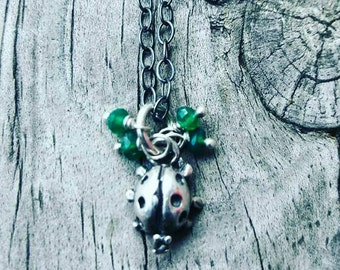 Tiny sterling Silver ladybug Necklace // Natural Green Onyx with sterling silver Chain //Layering Necklace
