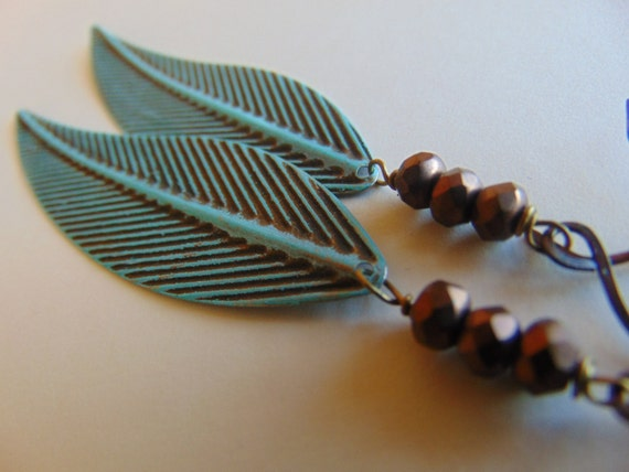 Gorgeous Brass Leaf and Copper glass bead  earrings, long earrings, Tassel earrings, gift for Her