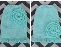 Hand Knit Super Soft Mint Dog Puppy Sweater Dress XXS 2 lbs, Made of Fine Baby Yarn for Toy or Teacup Breed Puppies w/Crochet Ruffle Flower