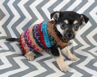 Rustic Hand Knit Dog/Puppy/Kitten Sweater XXXS/XXS 1 - 2 lbs Puppy Multi Color Yarn for Chihuahua Yorkie Maltese Pomeranian Shih Tzu Teacup