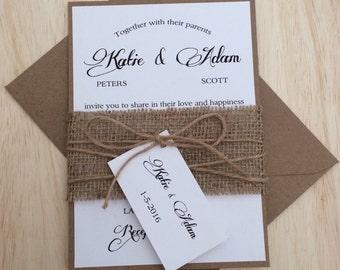 Rustic wedding invitation, burlap wedding invitation, kraft wedding invitation, twine wedding invitation, country invitation