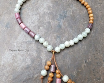 Spring Homage Necklace Rhodonite, New Jade, Leather, Wood, Antiqued Brass