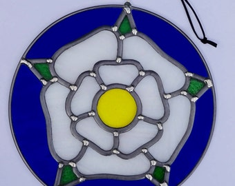 Ready to ship - White Yorkshire Rose Stained Glass Garden Art Ornament or Suncatcher - inspired by Great Rose Window York Minster