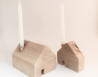 House Candle Holders - Natural