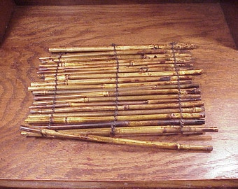 Lot of 22 Dark Stained Bamboo Canes Sticks, for Craft Projects, Supply, Stems, Sticks