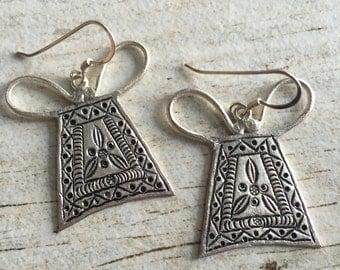 Flat silver earrings, abstract silver earrings, long thai silver earrings, thai silver earrings