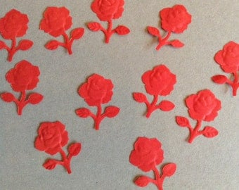 Rose confetti, flower paper punches, wedding confetti. Party decor, table decor, red roses