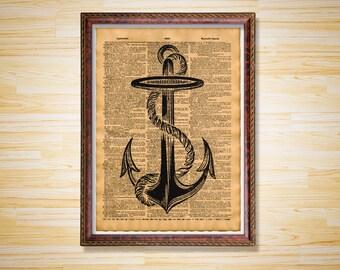 Antique Nautical poster Sea decor Anchor print