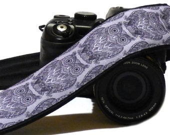 Gray Owls Camera Strap. Personalized Camera Strap. Padded Camera Strap. DSLR Camera Strap. Canon, Nikon Camera Strap. Photo Accessories.