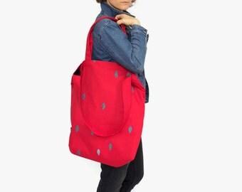 red bag, messenger diaper bag, canvas diaper bag, book tote bag, canvas shoulder bag, beach bag tote