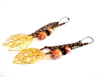 Bohemian necklace, pendulous leaves
