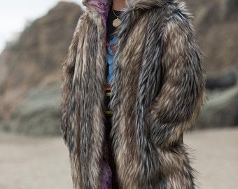 Playa Wolf Burning Man fur coat Festival costume Playa outfit BOHO coat | Custom made for you