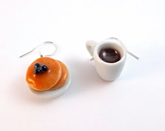 Coffee and Blueberry Pankakes, Mini Food Earrings