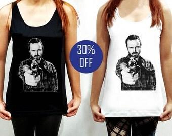 Jesse Pinkman Shirt Clothing Breaking Bad Gun Tank Top Sleeveless TShirt T-Shirt Women White Black