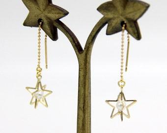 Star Earrings, Gold Star Earrings, Gold Star Dangle Earrings, Pearl Earrings, Pearl Star Earrings, Star Jewelry