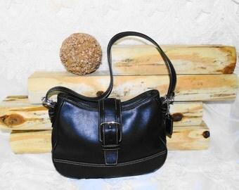 Vintage Black Leather Coach Hobo Bag Shoulderbag Purse