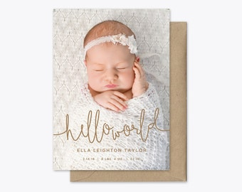 Hello World Photo Baby Announcement Printable