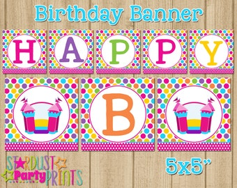Bounce House Happy Birthday Banner, Bounce Castle Birthday Banner, Bounce Party Happy Birthday Banner Jump Birthday Banner