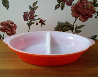 Vintage Sears Maid of Honor divided casserole serving dish
