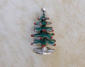 Christmas Tree Painted Sterling Silver Bracelet Charm Ornaments Vintage