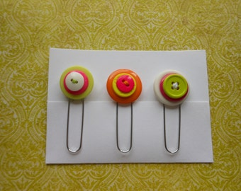 Button Paperclip Set, Neon Colors Set 2, Paperclip Bookmark, Button Bookmark