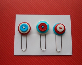 Button Paperclip Set, Red White Blue Set, Paperclip Bookmark, Button Bookmark