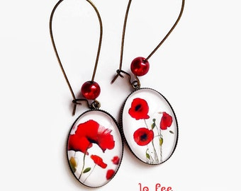 Earrings * poppies * white red poppy watercolor flowers, glass cabochons